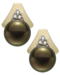 Macy's | Metallic 14K Gold Earrings, Brown Cultured Tahitian Pearl (8.5Mm) And Diamond (1/10 Ct. T.W.) Stud Earrings | Lyst
