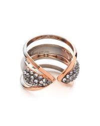 Katie Rowland - Pink Zelle Chunky Dip Dye Ring - Silver/rose Gold/rhodium - Lyst