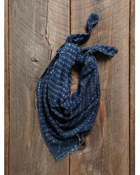 Free People - Blue Vintage Embroidered Indigo Scarf - Lyst