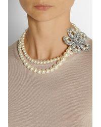 Miu Miu Blue Silverplated Swarovski Pearl and Crystal Necklace