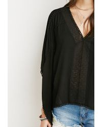 Forever 21 - Black Lace-up Embroidered Crop Top - Lyst