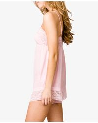 Forever 21 - Pink Lace Trim Sleep Romper - Lyst