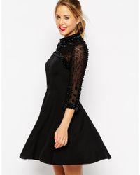 ASOS | Black Cluster Embellished Skater Dress | Lyst