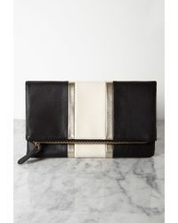 Forever 21 - Black Racing Stripe Faux Leather Clutch - Lyst