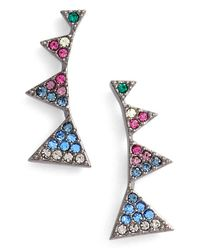 Nadri | Metallic Triangle Linear Stud Earrings - Multi/ Hematite | Lyst