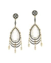 Queensbee | Metallic Pearl Earrings With Snow Quartz | Lyst