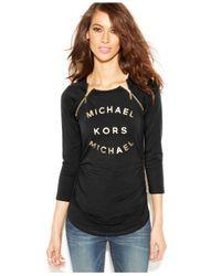 Michael Kors Black Michael Logo-Print Zipper Top