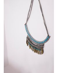 Missguided - Metallic Multi Stone Layered Necklace Silver - Lyst