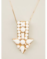 Stella McCartney | White Arrow Gem Stone Necklace | Lyst