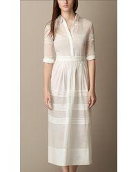 Burberry White Pleat Detail Cotton Silk Shirt Dress