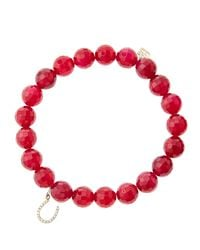 Sydney Evan - 8Mm Faceted Red Agate Beaded Bracelet With 14K Gold/Diamond Bee Charm (Made To Order) - Lyst