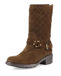 Aquatalia - Green Sage Quilted Suede Moto Boot - Lyst