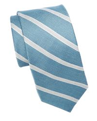 Michael Kors | Blue Asymmetrical Striped Tie for Men | Lyst