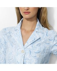 Lauren by Ralph Lauren - Blue Striped Pajama Set - Lyst