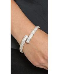 Michael Kors Metallic Pave Bypass Hinge Bangle Bracelet Goldclear