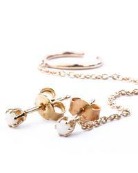 Katie Diamond Jewelry | Metallic Gretta Chain Studs, Assorted Stones | Lyst