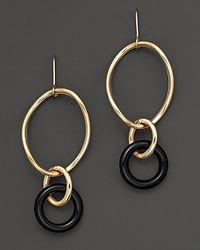 Faraone Mennella Metallic 18 Kt Gold Stella Drop Earrings with Black Onyx Link