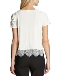 Cece by Cynthia Steffe | Natural Short Sleeve Lace Hem Top | Lyst