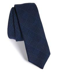 HUGO - Blue Plaid Wool & Silk Tie for Men - Lyst