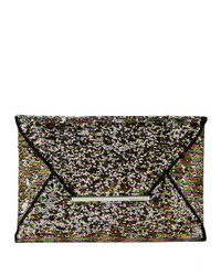BCBGMAXAZRIA | Metallic Harlow Sequined Envelope Clutch | Lyst