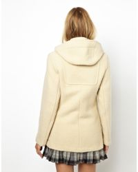 Gloverall Natural Short Duffle Coat in Heritage Boiled Wool With Wood and Jute Toggles