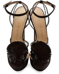 Charlotte Olympia Black Pom_pom Pomeline Platform Sandals