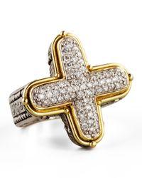 Konstantino - Metallic Classic Diamond Pave Cross Ring - Lyst