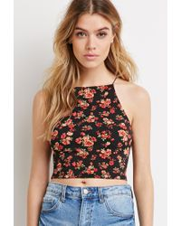 Forever 21 | Black Rose Print Cropped Cami | Lyst
