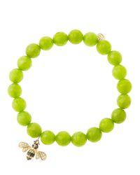 Sydney Evan   Green 8mm Faceted Lime Jade Beaded Bracelet   Lyst