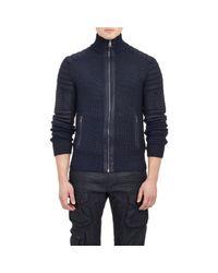 Ralph Lauren Black Label Blue Coated Moto Cardigan for men
