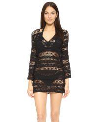 MILLY Black Mykonos Crochet Tunic