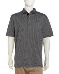 Peter Millar Jacquard Knit Golf Shirt In Black For Men