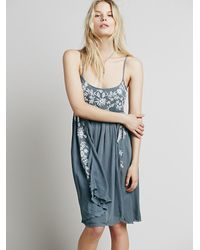 Free People | Blue Intimately Womens Embroidered Babydoll Slip | Lyst