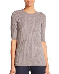 Vince - Gray Skinny Rib Sweater-knit Tee - Lyst