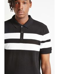 Forever 21 - Black Varsity-striped Piqué Polo for Men - Lyst