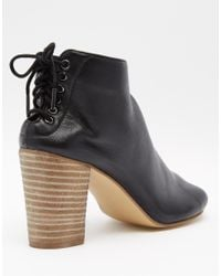 Dune | Indianna Black Leather Peep Toe Shoe Boots | Lyst