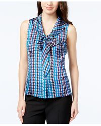 Tahari Blue Sleeveless Printed Tie-front Blouse
