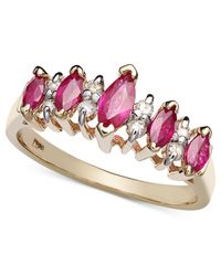 Macy's | Metallic 14k Gold Ring, Ruby (7/8 Ct. T.w.) And Diamond (1/8 Ct. T.w.) Band | Lyst