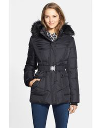 DKNY Black 'hayley' Faux Fur Trim Hooded Belted Quilted Jacket