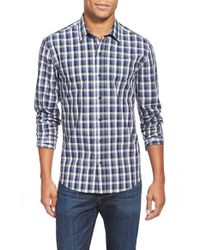 W.r.k. - Blue 'duval' Trim Fit Check Sport Shirt for Men - Lyst