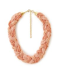 Forever 21 | Pink Braided Beaded Ombre Necklace | Lyst