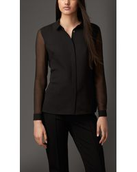 Burberry - Black Contrast Silk Shirt - Lyst