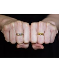 Lee Renee | Metallic Tiny Hearts Ring Silver & Gold Vermeil | Lyst