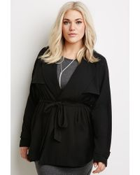 Forever 21 Black Plus Size Self-tie Duster Jacket You've Been Added To The Waitlist