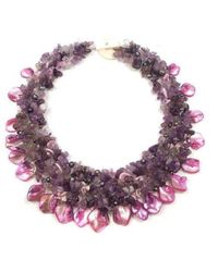 Aeravida | Purple Amethyst And Seashells Cluster Stone Toggle Necklace | Lyst