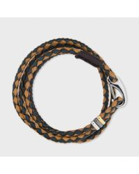 Paul Smith | Blue Men's Taupe And Green Leather Wrap Bracelet for Men | Lyst