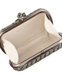 Bottega Veneta - Metallic Metal Intrecciato Knot Frame Clutch Bag - Lyst