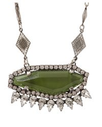 DANNIJO Green Silver-Plated Crystal Honora Necklace