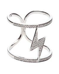 Vendoro - Metallic Diamond 'thunder' Double Band Ring - Lyst