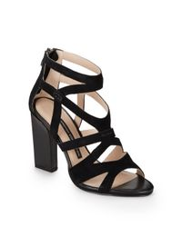 French Connection - Black Suede Caged Sandals - Lyst